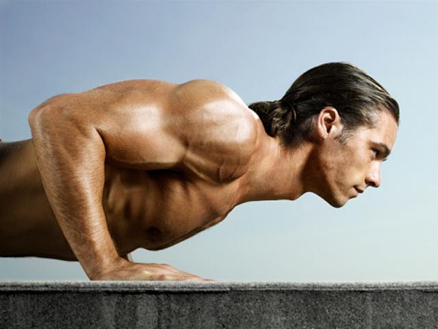 Flexiones y musculación de los pectorales