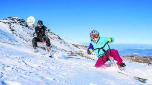 Skibike, esquí y bicicleta