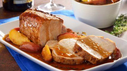 Lomo de cerdo con manzana para la cena de Navidad
